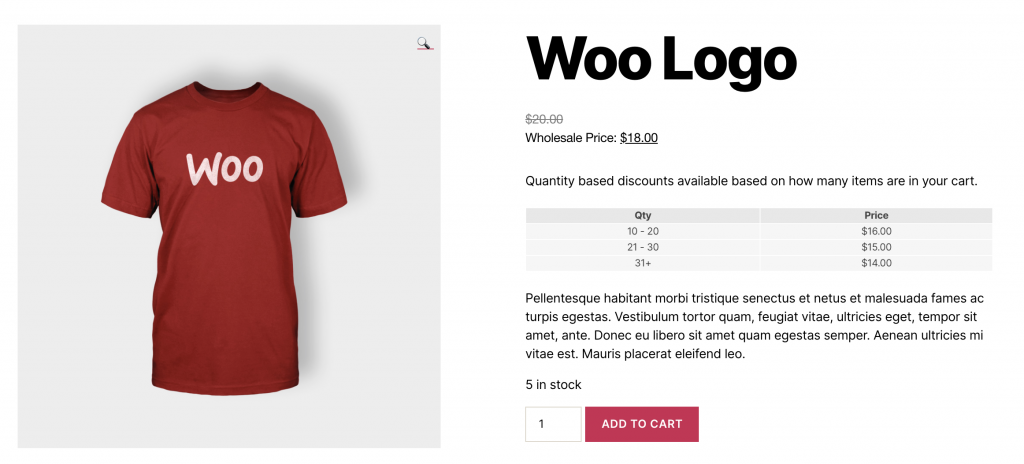 Display table of quantity discounts in WooCommerce