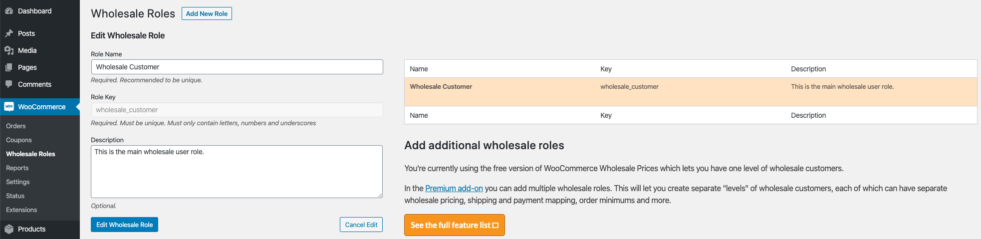 WooCommerce Wholesale Roles Editing
