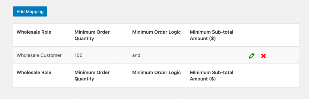 Role-based wholesale product minimums listed in WooCommerce Wholesale Prices' settings.