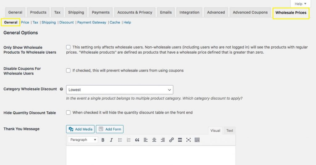 The Wholesale Prices settings tab in WooCommerce.