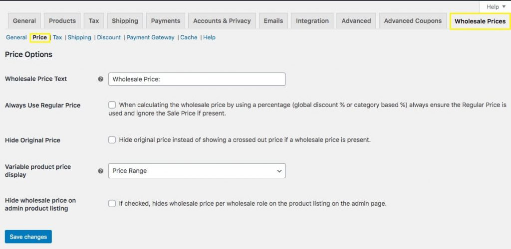 The Price options settings menu.