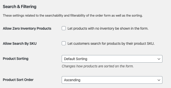 Wholesale Suite Order Form Searching Filtering Options