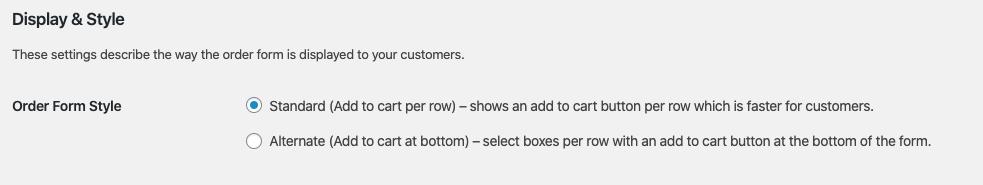 Wholesaler Order Form Display Style