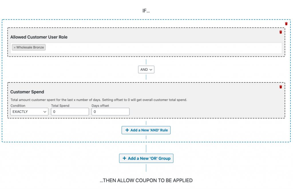 WooCommerce Coupon cart condition testing for a wholesale customer that has not spent anything yet in