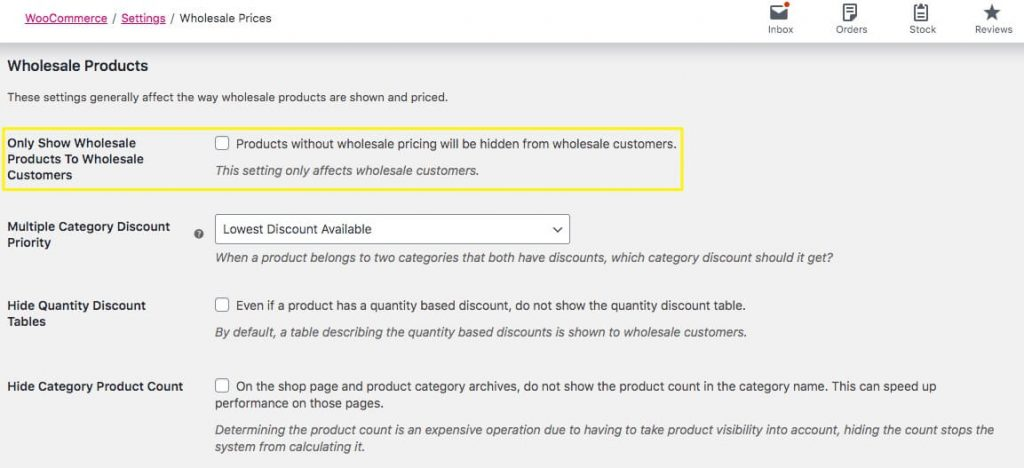 Manage wholesale product visibility by changing global user settings.