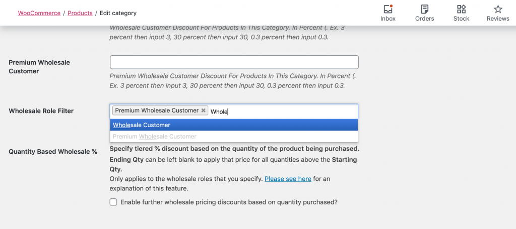 Adding roles to the Wholesale Role Filter to hide a product category from retail customers.