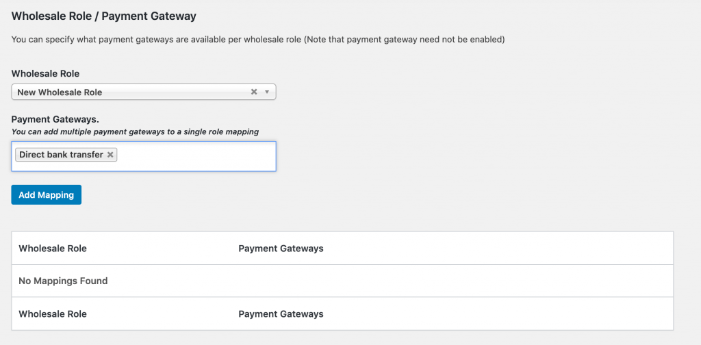 Assigning payment options to a wholesale user role.