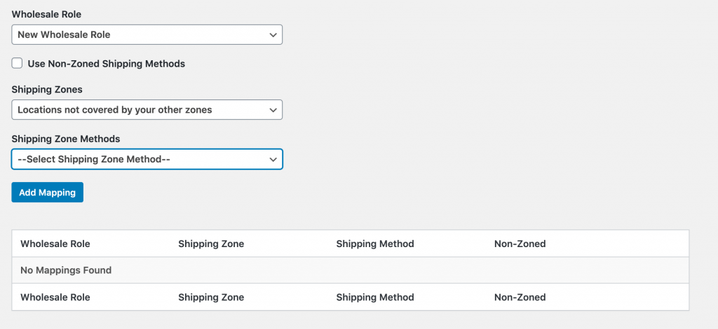 Assigning shipping options to a wholesale user role.