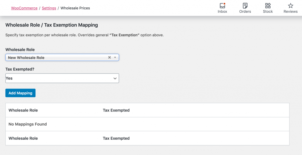 Adding tax exempt status to a wholesale user role.