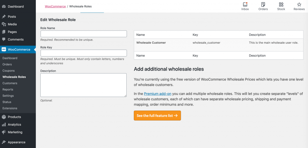The default wholesale customer user role.