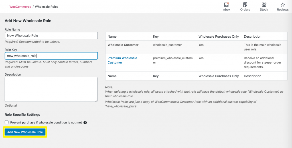 Adding a new wholesale customer user role.