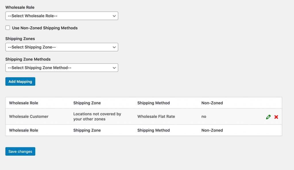A wholesale shipping method mapping.