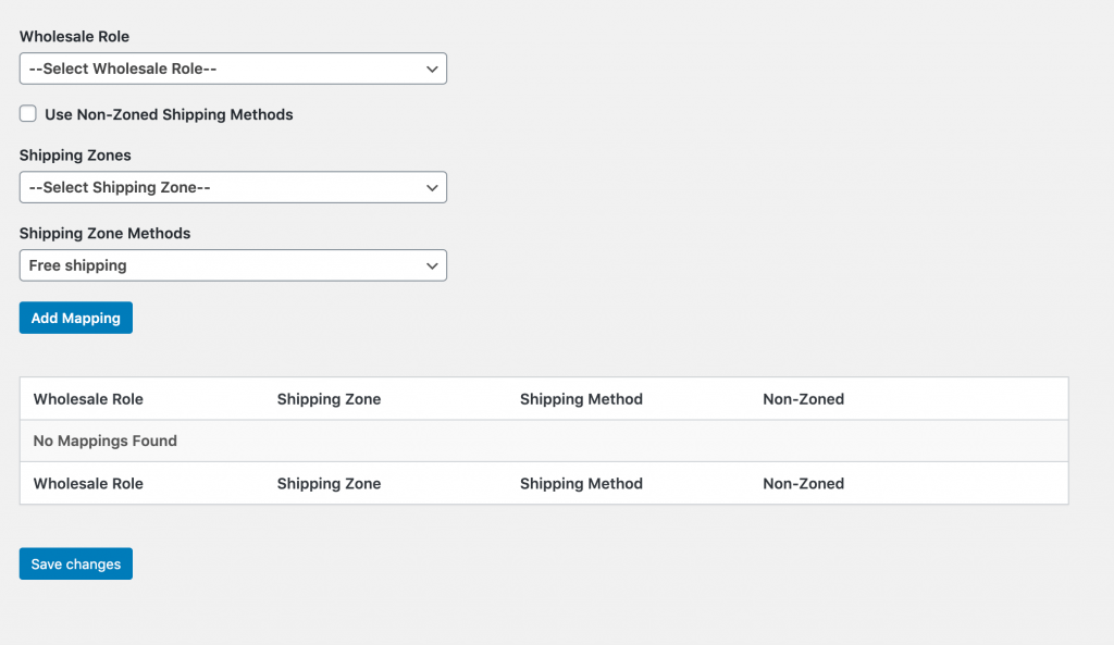 The wholesale shipping method mapping settings.