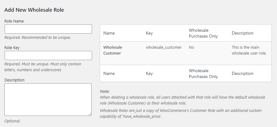 Adding a new wholesale customer role using WooCommerce Wholesale Prices.