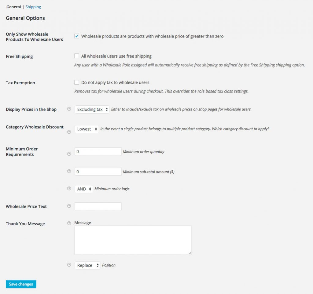 Setting options to show wholesale products to wholesale users.