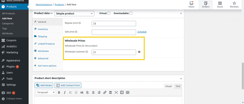 The WordPress back end showing how to enter the wholesale price of a WooCommerce product.