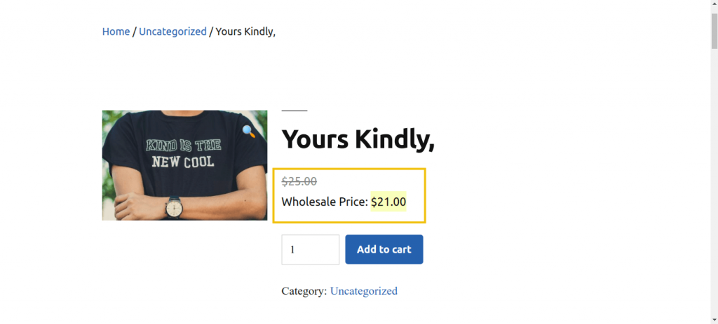 A web page showing the wholesale price of a WooCommerce product as displayed to a wholesale customer.