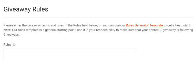 The giveaway rules section of the RafflePress plugin settings.