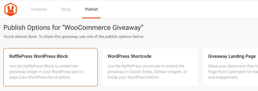 The RafflePress giveaway publish options.
