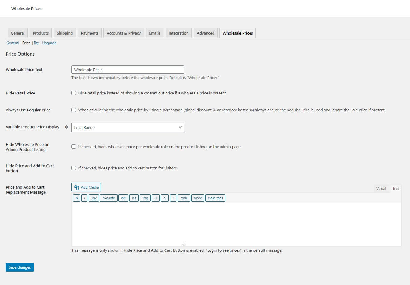 """A screenshot of the Wholesale Suite settings page under the """"price"""" tab."""