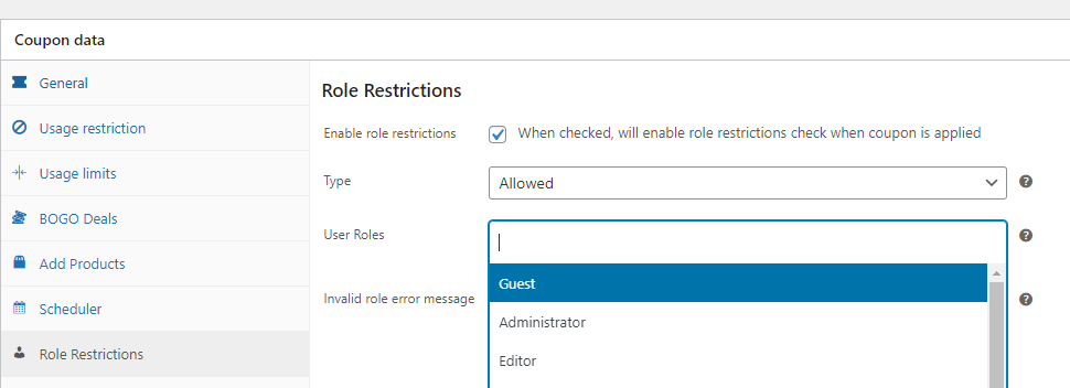 Enabling coupon user role restrictions