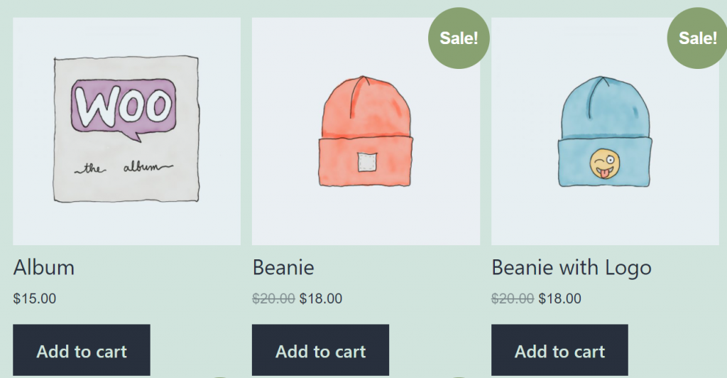 A WooCommerce shop page