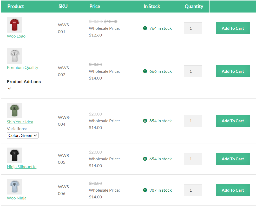A preview of the wholesale price list order form on the front-end