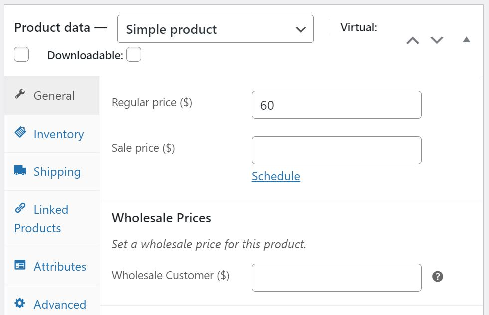 Entering the product data for your wholesale customers.