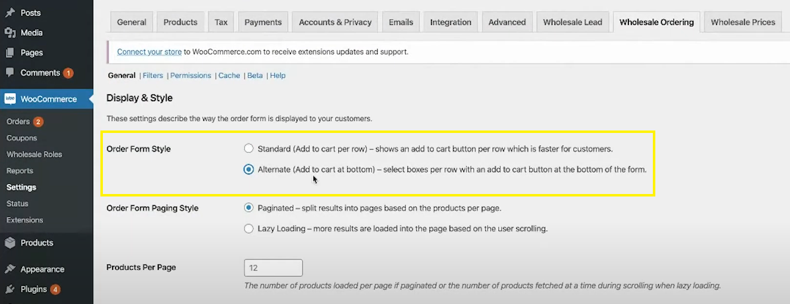 The Wholesale Ordering settings page
