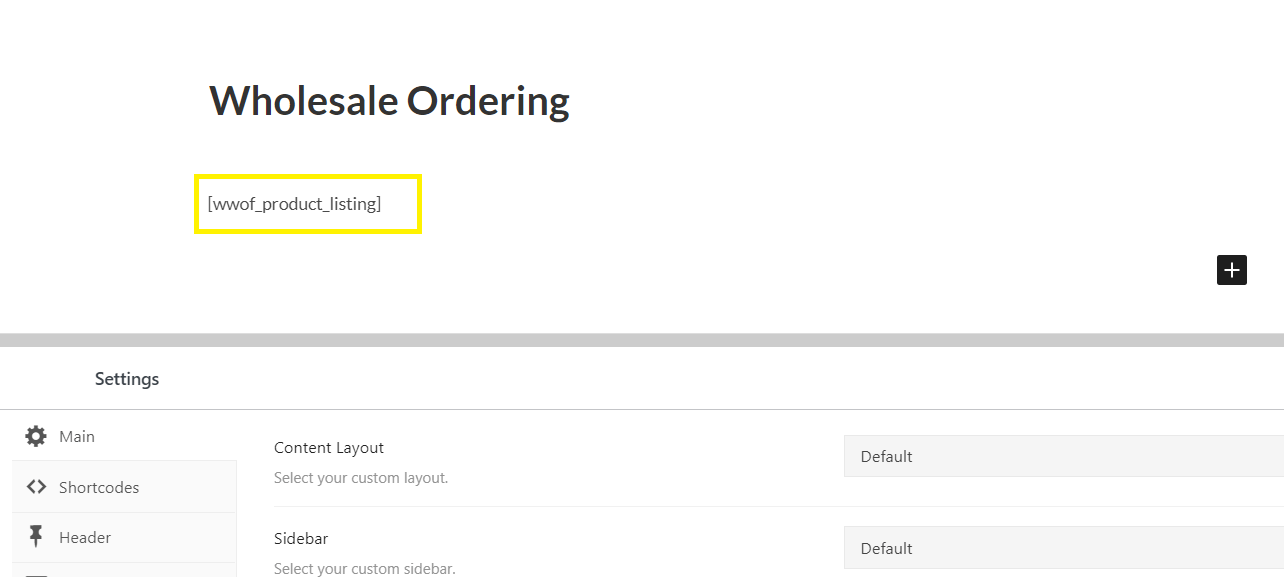 The Wholesale Ordering page in the WordPress editor