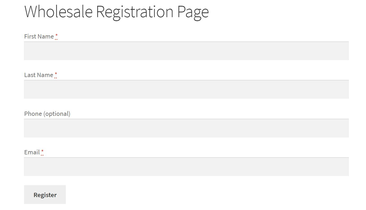 An example of a wholesale registration page