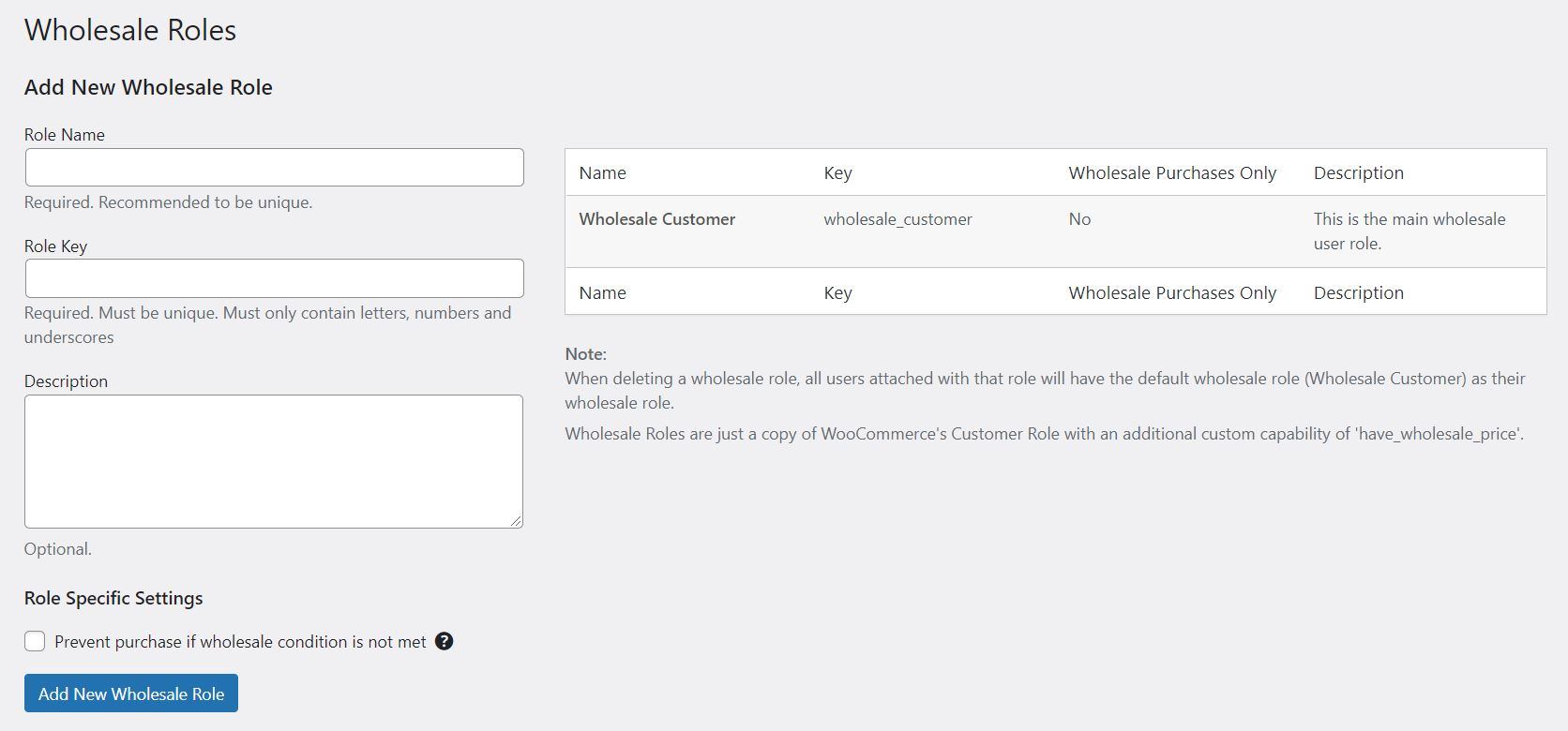 Setting up wholesale roles with the WooCommerce Wholesale Prices Premium plugin.