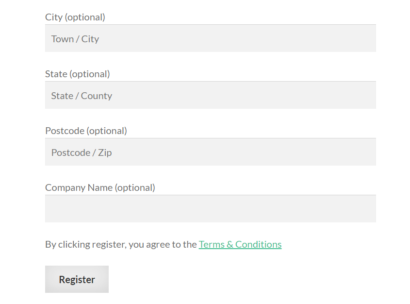 A custom registration page for wholesale customers