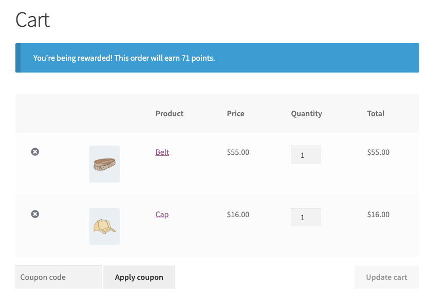 An example of the Advanced Coupons points system