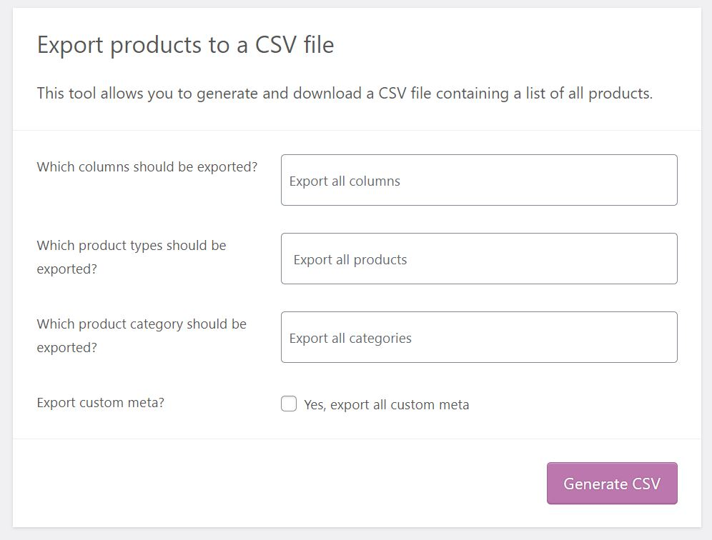 Choosing which products and details to export to CSV