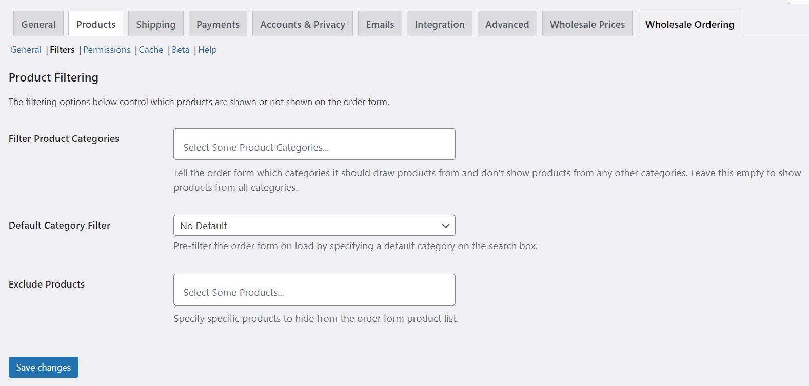 Product filtering options for the WooCommerce Wholesale Order Form.