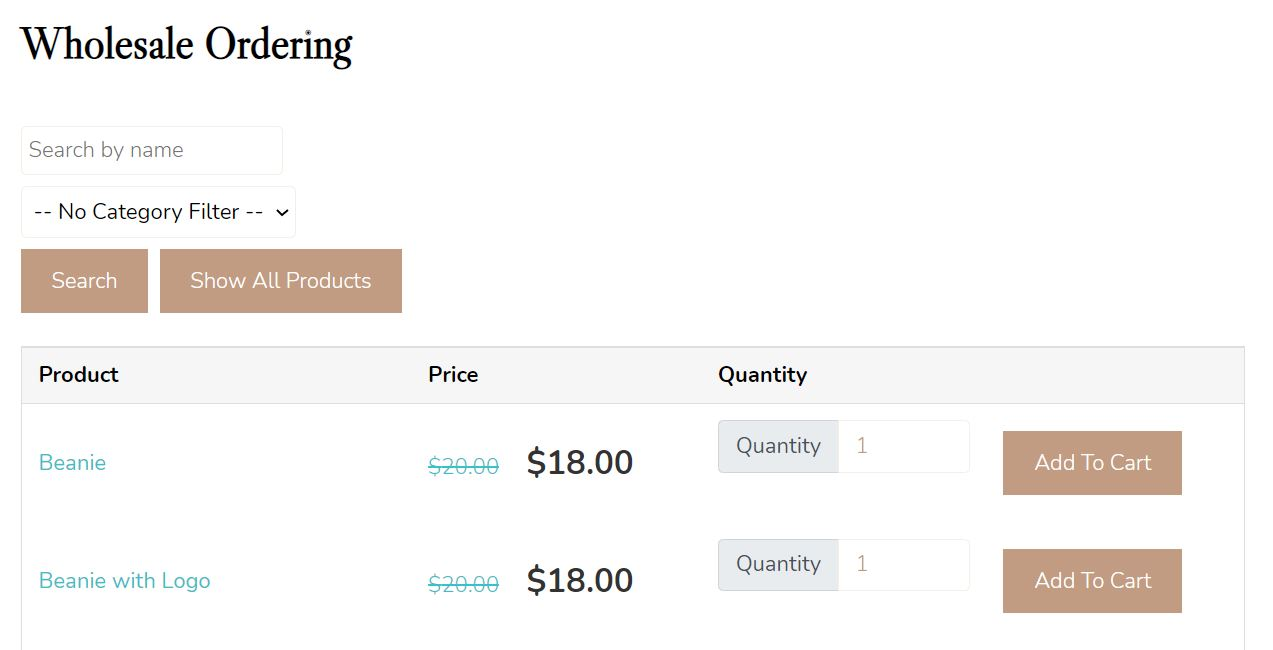 An example of a WooCommerce product catalog for wholesale ordering.