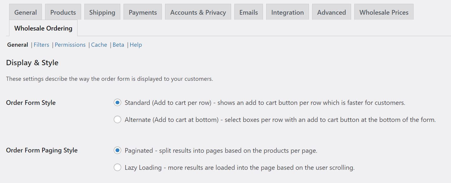 The Wholesale Order Form plugin settings for creating a one-page WooCommerce product list.