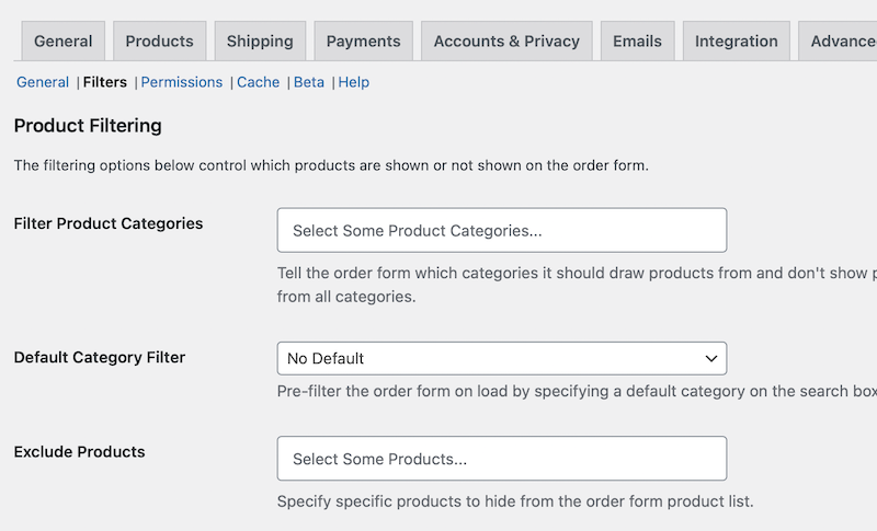 The product filtering settings in the Wholesale Order Form plugin.