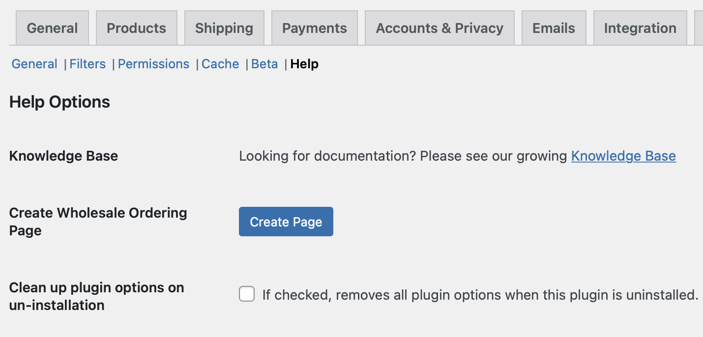 The Help Options for the Wholesale Order Form plugin