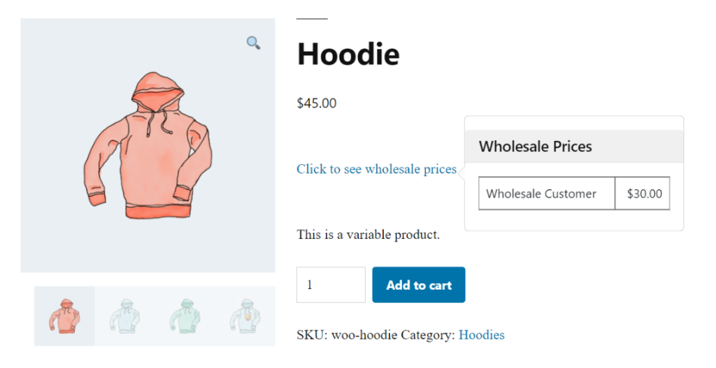A preview of wholesale prices displayed on the front end of a WooCommerce store.