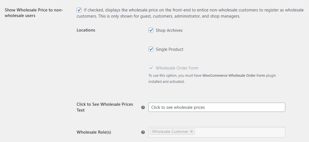 The location options for showing wholesale pricing to non-wholesale customers.